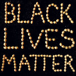 Black lives matter flat lay with African brass bicones