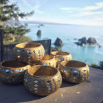 Sunlight Tea Light Holders shown outdoors