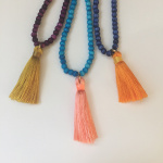 3mm rainbow bone bead necklaces and tiny tassels