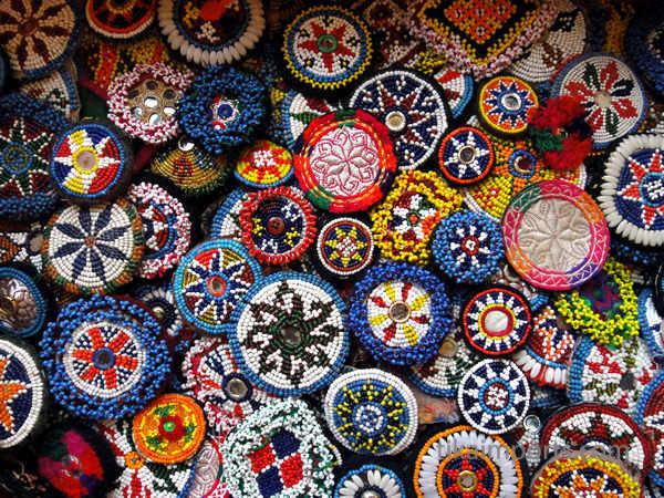 vintage beaded dress flowers from Afghanistan