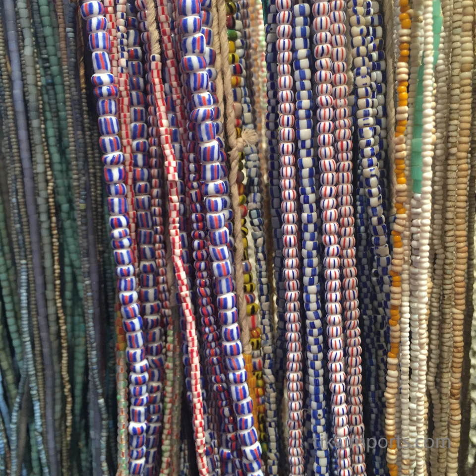 closeup texture detail of small african trade bead strands
