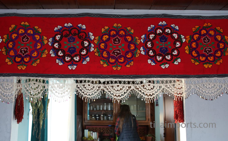 handmade Uzbeki suzani textile on display
