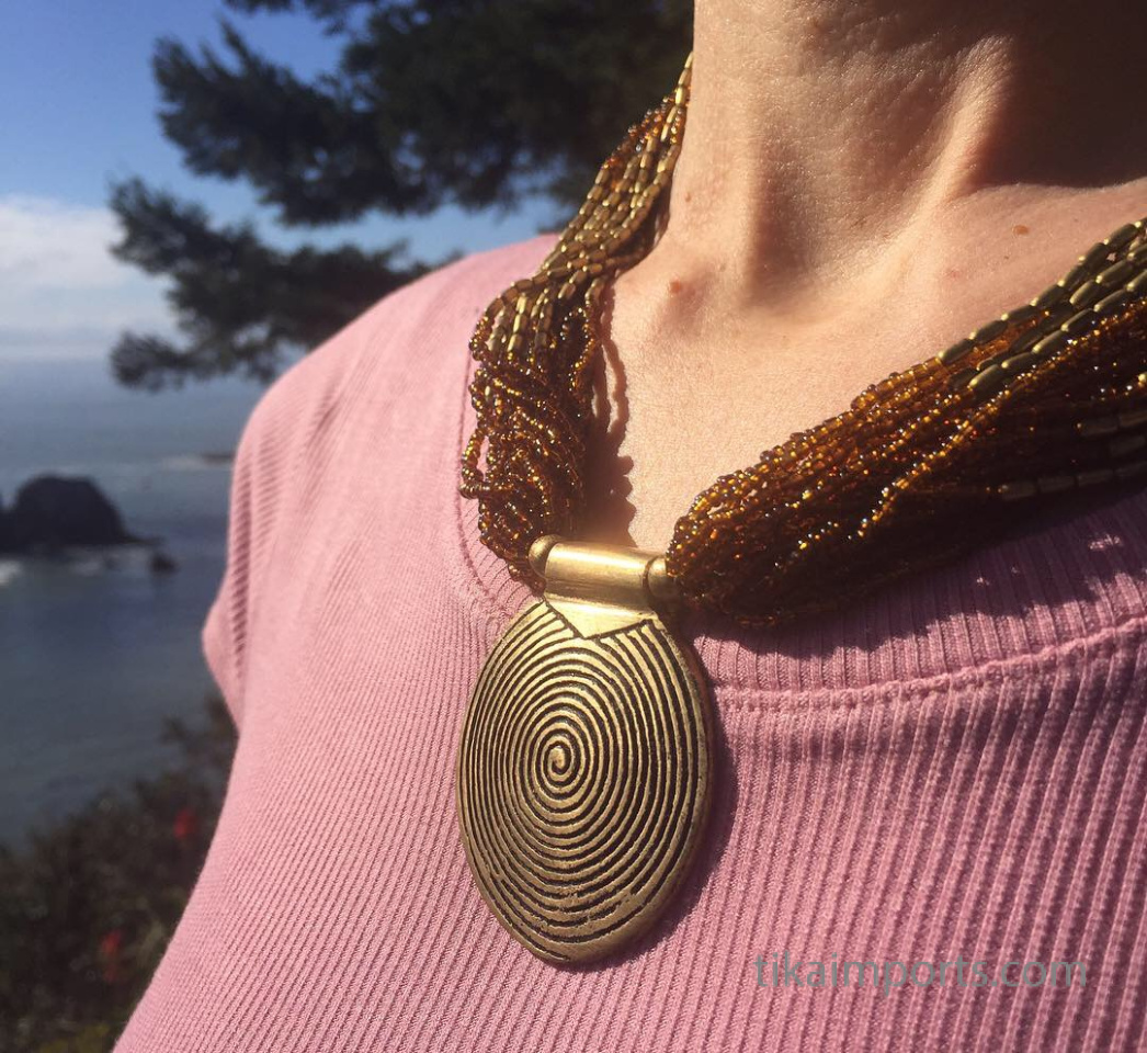 Beaded Naga Style Necklace in brown, being worn outdoors