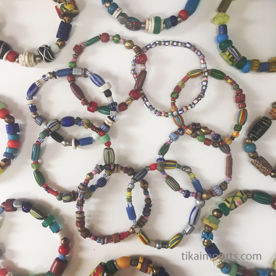 african trade bead stretch bracelets