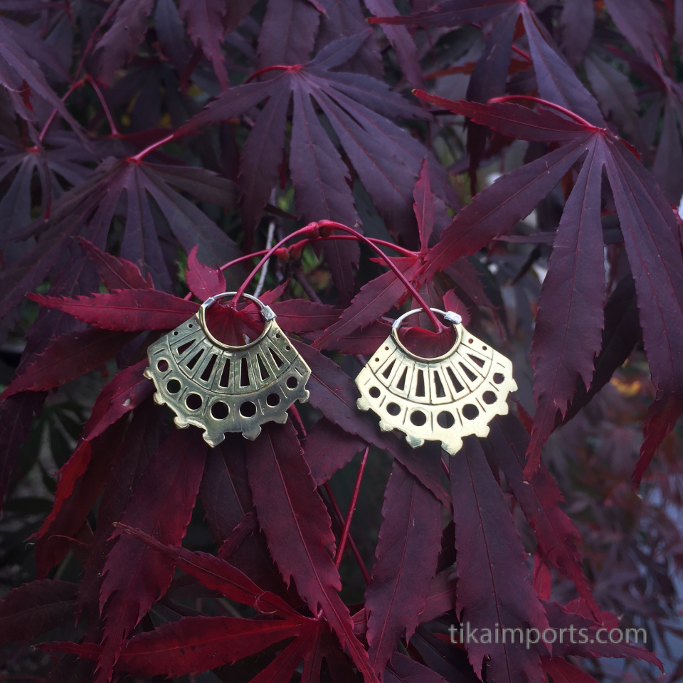 Odyssia brass earrings photographed in nature