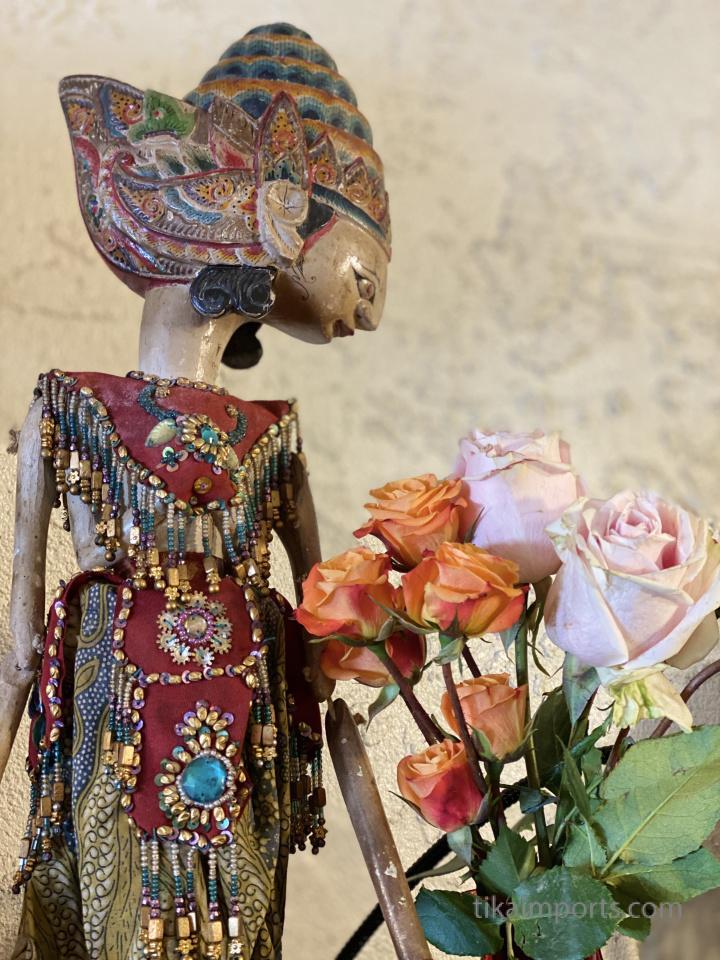 vintage wayang puppet on display in Tucson