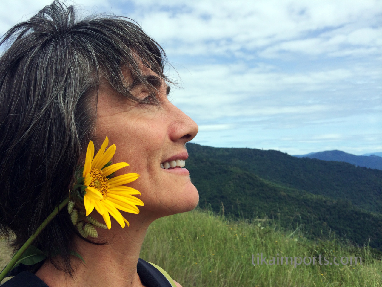 julie adorned with a sunflower