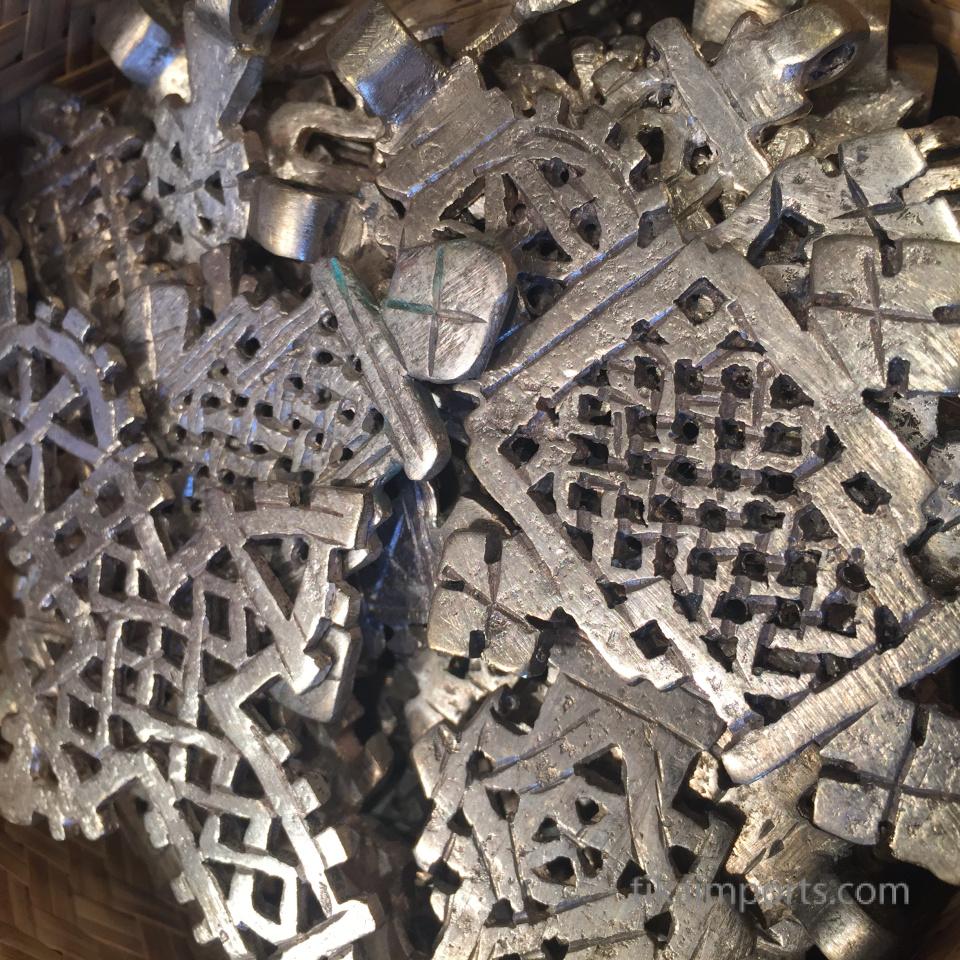 closeup texture detail of koptic crosses