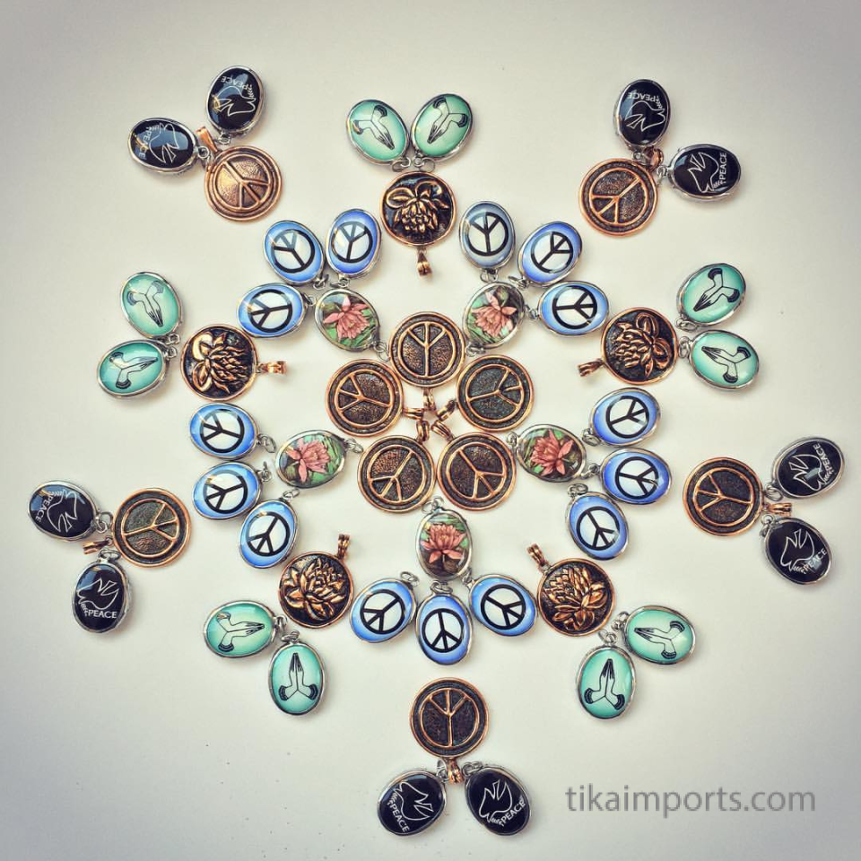 mandala made from pendants with images of peace
