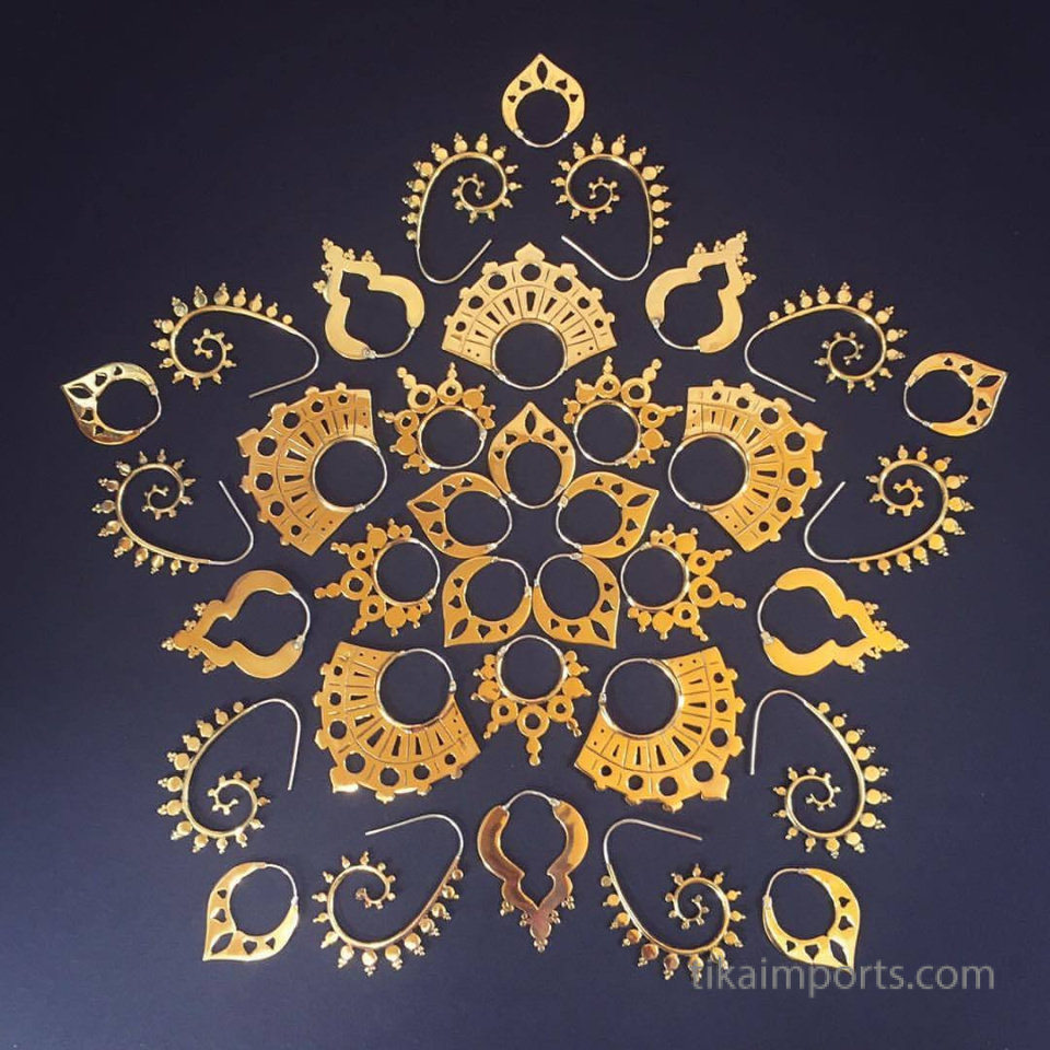 mandala made from Odyssia Brass Earrings