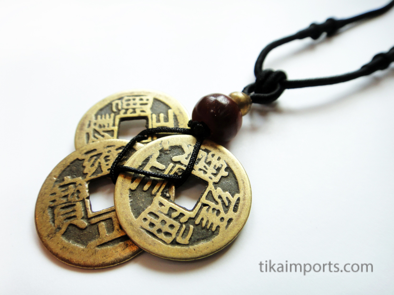 3 coin necklace mix match tika imports black adjustable cord necklace with pendant made from three brass chinese coin replicas horn mozeypictures Choice Image