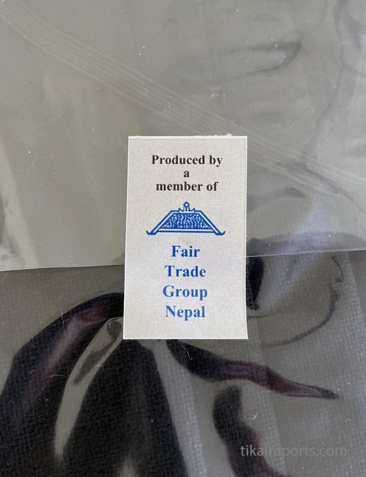 fair trade labeling on silk sari face masks