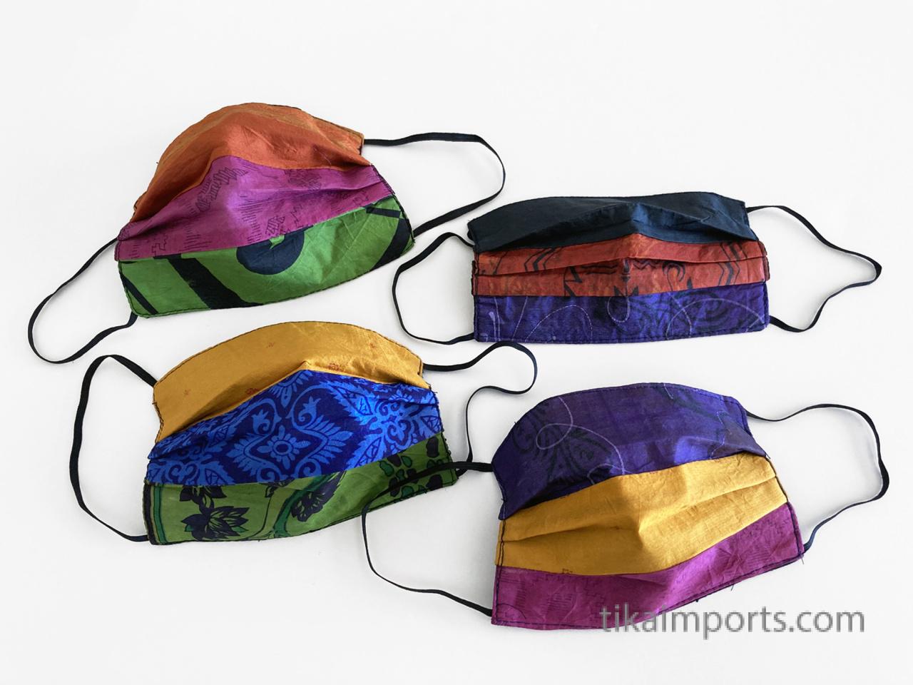 silk sari face masks