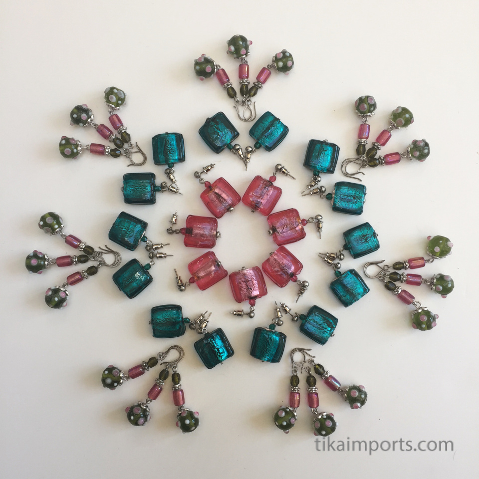 mandala of glass earrings in the colors of spring